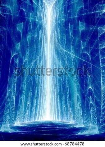 Blue Crevasse - Fractal Illustration - stock photo