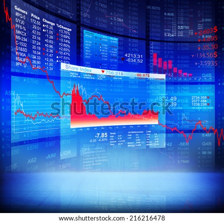 Blue Crisis Stock Diagram with Background Data - stock photo