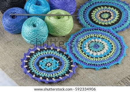 Blue Crochet Pattern Coasters Ball Yarn Stock Photo Edit Now