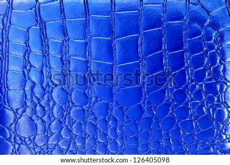 Blue crocodile leather texture - stock photo