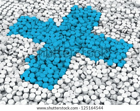 Blue cross from scaterred white and red pills - stock photo