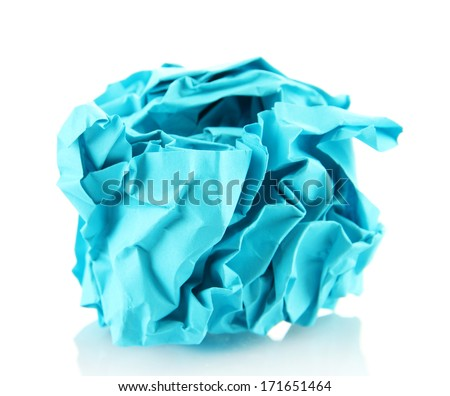 Blue crumpled paper ball isolated on white