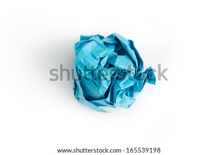Blue crumpled paper ball over white background - stock photo