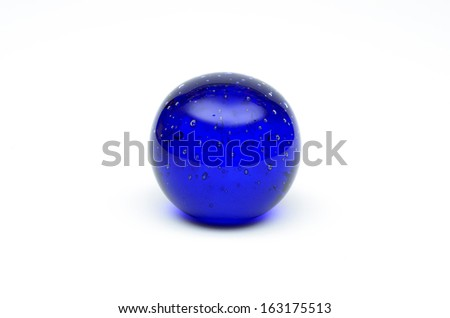 Blue crystal ball with bubbles
