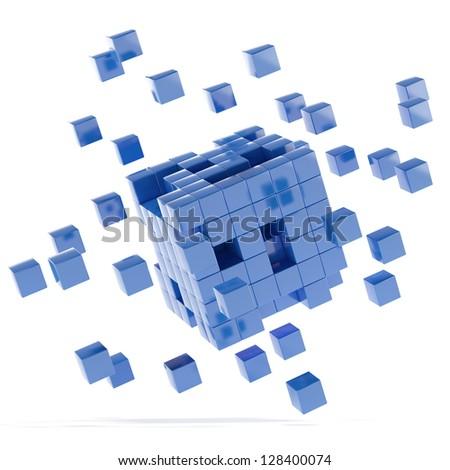 Blue cubes - stock photo