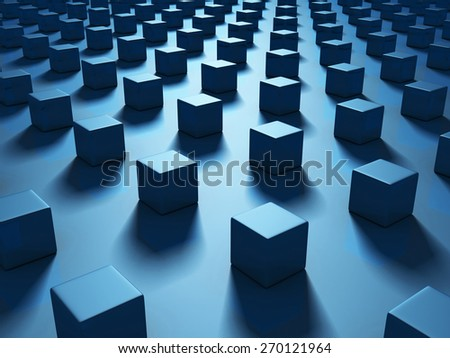 Blue Cubes Abstract Dark Geometric Background. 3d Render Illustration