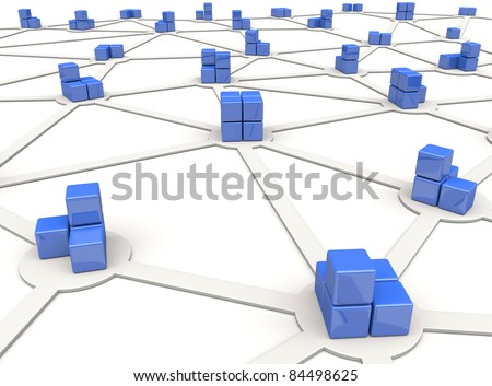 Blue cubes as nodes of distributed network - stock photo