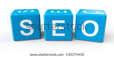 Blue Cubes with SEO sign on a white background - stock photo