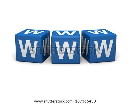 Blue cubes with www sign on a white background  - stock photo
