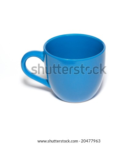Blue cup isolated in white