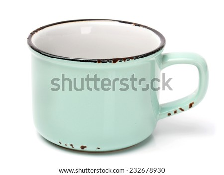 Blue cup on a white background - stock photo
