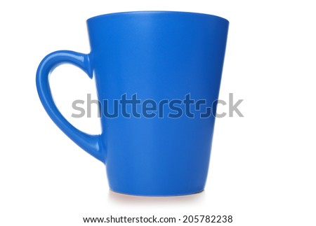 Blue  cup on the isolated white background - stock photo