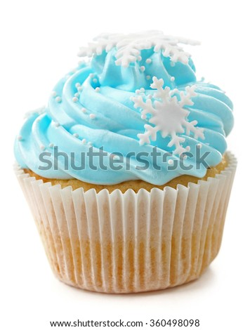 Blue cupcake isolated on white