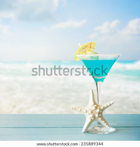 Blue Curacao cocktail with lemon