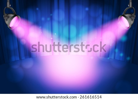 blue curtain background with pink spot lights - stock photo