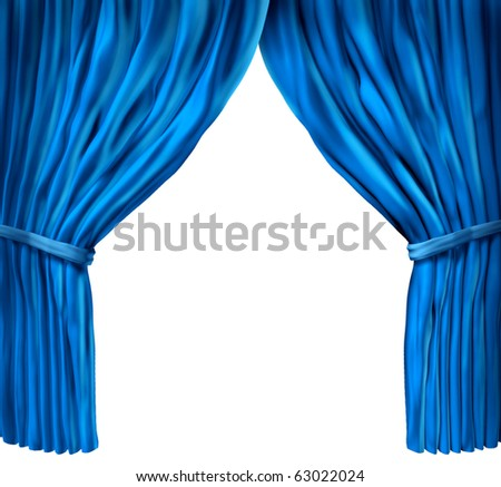 blue curtain drapes isolated