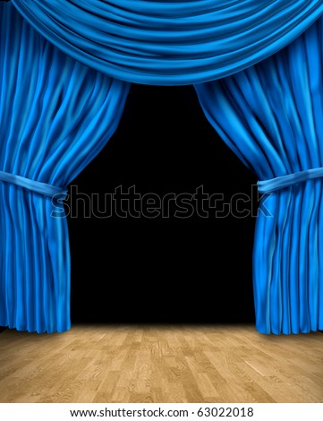 blue curtain drapes with wood floor and black background