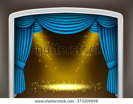 Blue curtain of classical theater with gold spotlights and sprinkles - stock photo