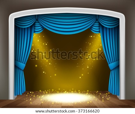 Blue curtain of classical theater with gold spotlights and sprinkles on wood floor - stock photo