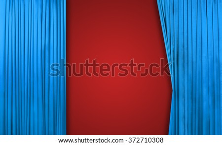 Blue curtain on theater or cinema stage slightly open on red background - stock photo