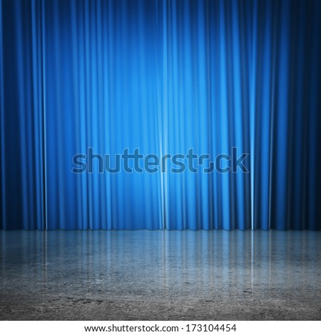 blue curtains and concrete floor - stock photo