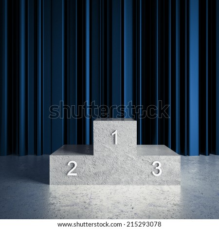 blue curtains in room and champion podium - stock photo