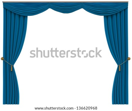 Blue Curtains Isolated on White Background