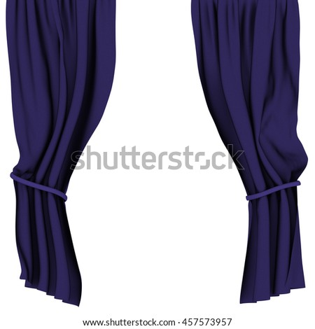 Blue curtains isolated on white background. Include clipping path. 3d render