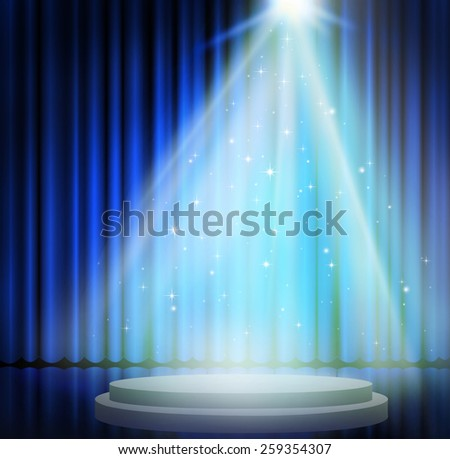 Blue curtains on theater with spotlight.