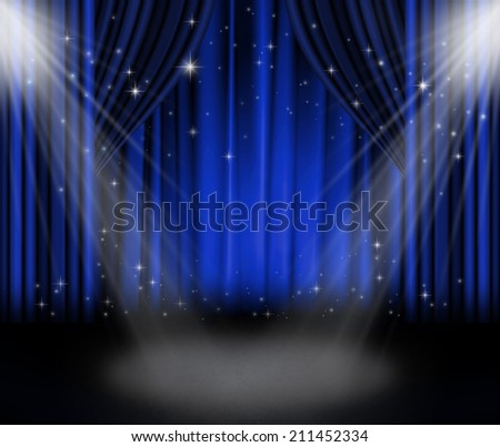 blue curtains on theater with stars.