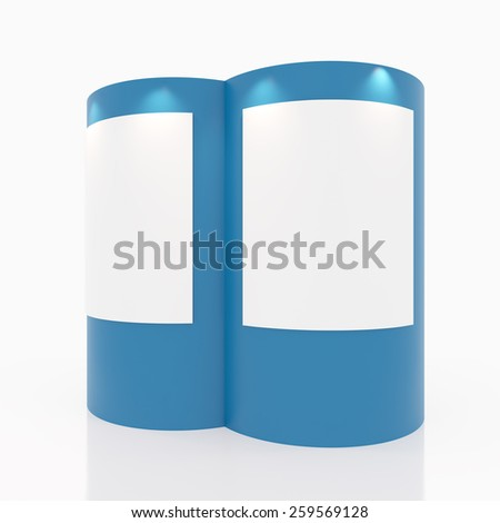 Blue Curve with white gallery for Exhibition on white background - stock photo