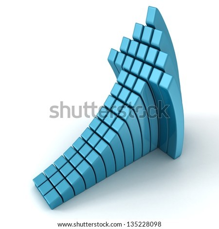 blue curved cube arrow going up on white background - stock photo