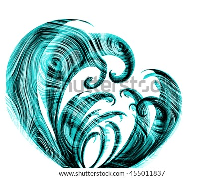 blue cyan flower style smoke line ornament element