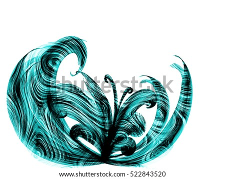 blue cyan flower style smoke line ornament element, abstract floral background