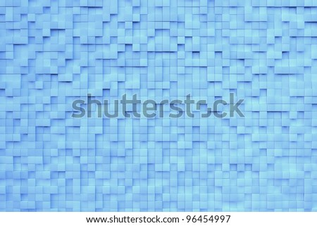 Blue 3D background with many metall cubes