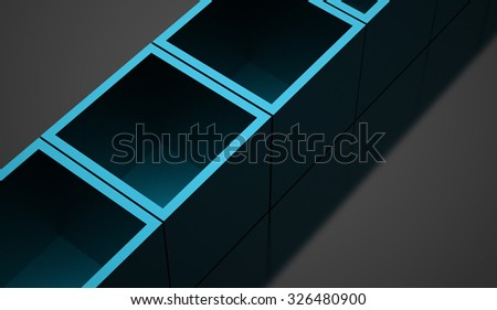 Blue 3D Cubes background business concept rendered