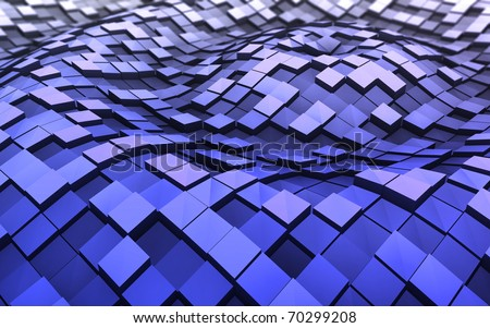 Blue 3d cubes in the waves
