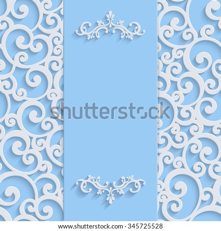 Blue 3d Floral Curl Background with Swirl Damask Pattern for Christmas or Wedding or Invitation Card. Vintage Design Template - stock photo