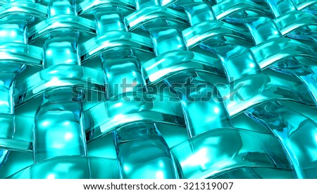 blue 3d glass grid waved abstract background