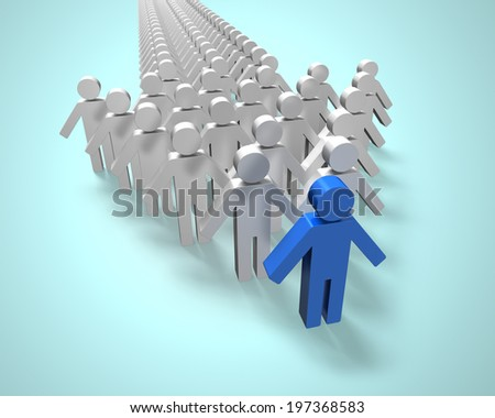 Blue 3D people in first position of group in arrow shape