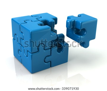 Blue 3d puzzle cube with a missing piece on white background - stock photo