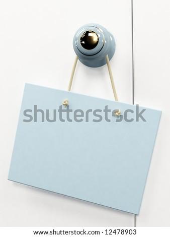 Blue 3d tablet, hanging on the door handle - stock photo