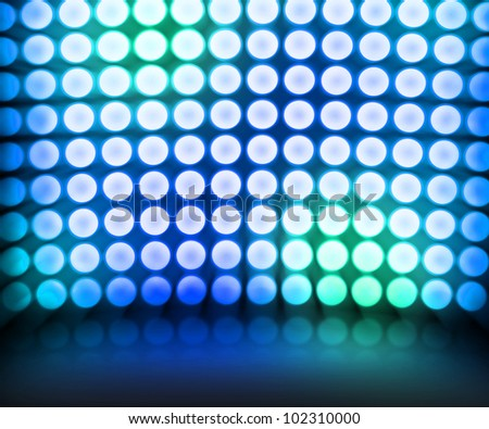 Blue Dance Disco Lights Stage Background - stock photo