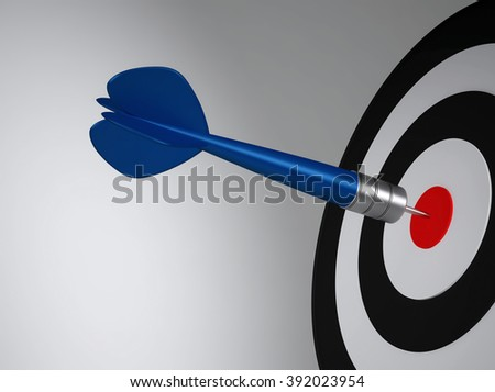 Blue dart hit the target close up. 3D render - stock photo