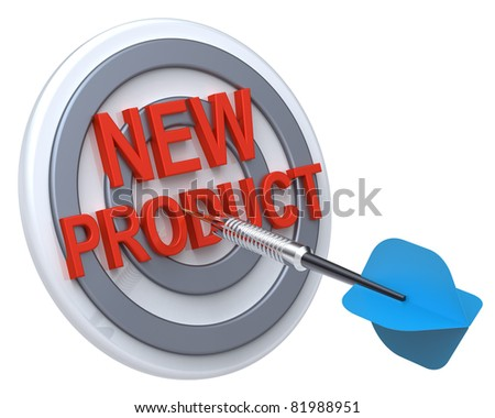 Blue dart on a target with text on it. The concept of new product. Computer generated 3D photo rendering.