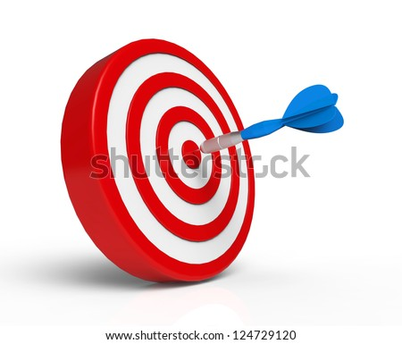 Blue Dart on Red Target - stock photo