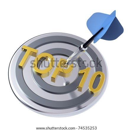 Blue dart on the target with TOP 10 text on it. Computer generated 3D photo rendering. - stock photo