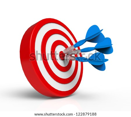 Blue Darts on Target - stock photo