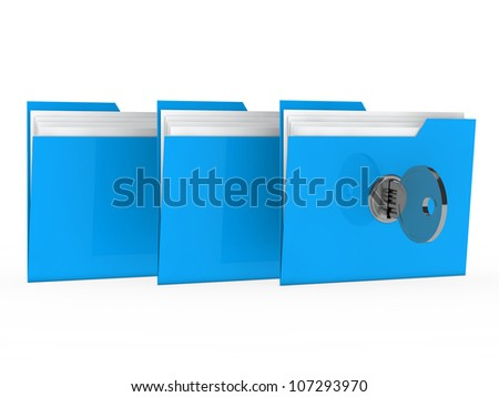 blue data folder with paper key close - stock photo