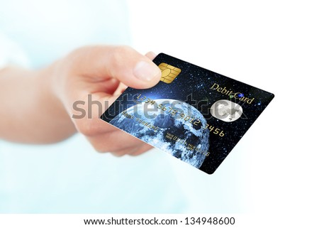 blue debit card holded by hand over white background - stock photo